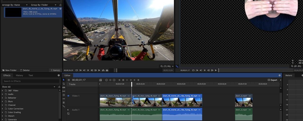 Basic Flying Video Clip Editing With HitFilm Express